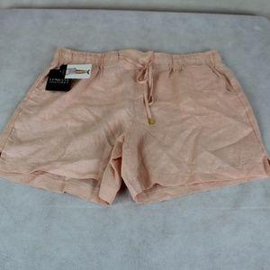 Company Ellen Tracy Peach 100% Linen Shorts